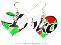 Earrings hand made from a recycled Four Loko Watermelon can