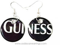 Earrings hand made from a recycled Guinness can