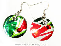 Earrings hand made from a recycled Mountain Dew can