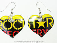 Earrings hand made from a recycled Rockstar Recovery can