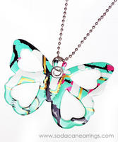Butterfly necklace hand made from recycled Arizona tea can