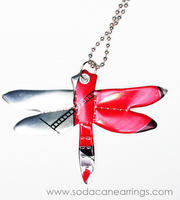 Dragonfly necklace hand made from recycled Diet Coke can