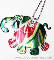Elephant necklace hand made from recycled Mt. Dew can