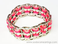 Hand made pink pop tab bracelet