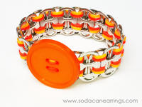 Hand made orange pop tab bracelet with button