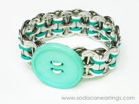 hand made Teal and White recycled pop tab bracelet